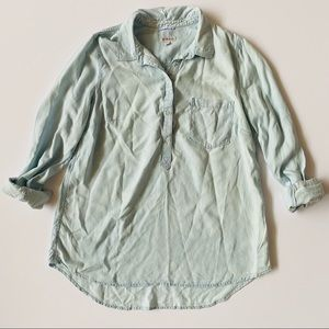 Merona   @ Chambray 1/2 Button Up Top High Low XXL